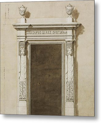 Design For Wall Decorations For The Salon De Compagnie Metal Print by Jean-Desmosthene Dugourc