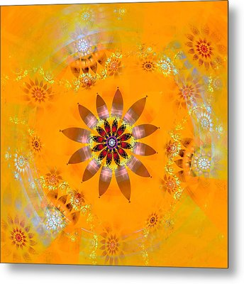 Metal Print featuring the digital art Designs On Gold by Richard Ortolano
