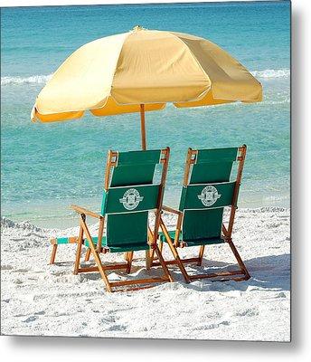 Destin Florida Beach Chairs And Yellow Umbrella Square Format Metal Print