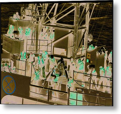 Destroyer Alongside Carrier Metal Print by Mike Ray