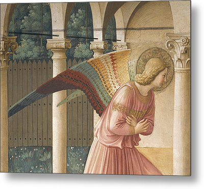 Detail From The Annunciation Showing Archangel Gabriel Metal Print by Fra Angelico