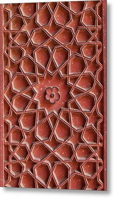 Detail Of Carvings On Wall In Agra Fort Metal Print by Inti St. Clair