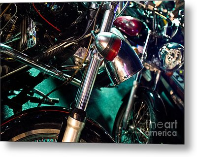 Detail Of Chrome Headlamp On Vintage Style Motorcycle Metal Print by Jason Rosette