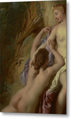 Detail Of Diana And Her Nymphs Bathing Metal Print by Jean Francois de Troy