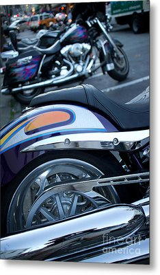 Detail Of Shiny Chrome Tailpipe And Rear Wheel Of Cruiser Style  Metal Print by Jason Rosette