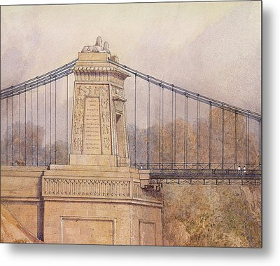 Detail Of The Approved Design For The Clifton Suspension Bridge Metal Print by Samuel Jackson