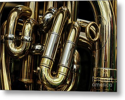 Detail Of The Brass Pipes Of A Tuba Metal Print by Jane Rix