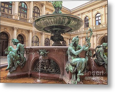 Detail Of The Fountain In The City Hall Of Hamburg Metal Print