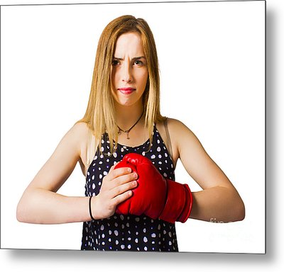 Determined Fitness Girl On White Background Metal Print by Jorgo Photography - Wall Art Gallery
