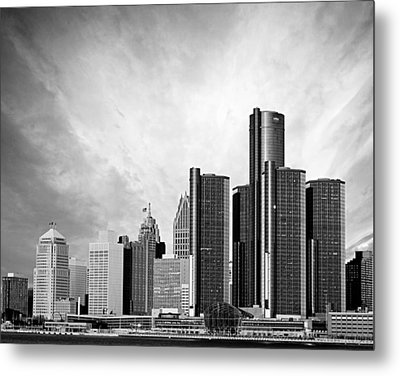 Detroit Black And White Skyline Metal Print by Alanna Pfeffer