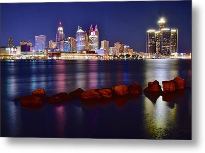 Detroit Lights 2 Metal Print by Frozen in Time Fine Art Photography