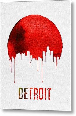 Detroit Skyline Red Metal Print by Naxart Studio