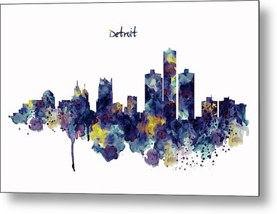 Detroit Skyline Silhouette Metal Print by Marian Voicu