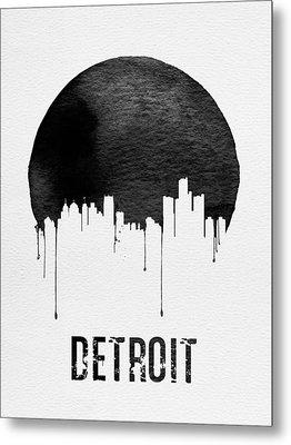 Detroit Skyline White Metal Print by Naxart Studio