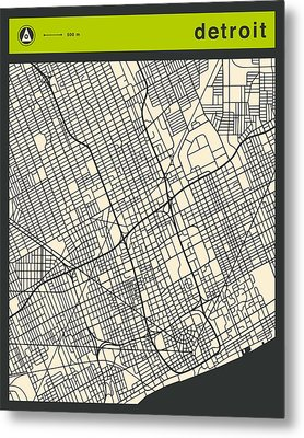 Detroit Street Map Metal Print by Jazzberry Blue