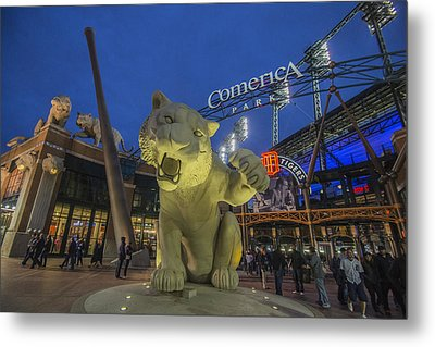 Detroit Tigers Comerica Park Front Gate Tiger Metal Print by David Haskett