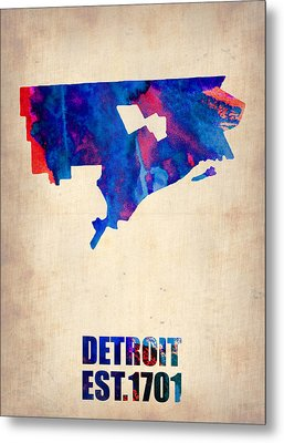 Detroit Watercolor Map Metal Print by Naxart Studio