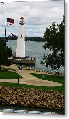 Detroit Waterfront Lighthouse Metal Print