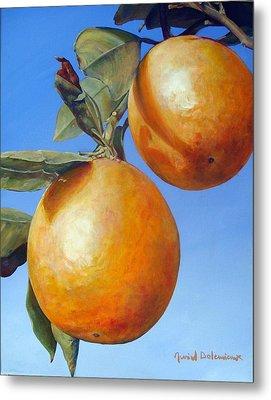 Deux Oranges Metal Print by Muriel Dolemieux