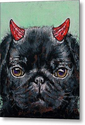 Devil Pug Metal Print by Michael Creese