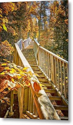 Devil's Kettle Stairway Metal Print by Linda Tiepelman