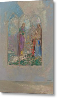 Devotion Near A Red Bush  Metal Print by Odilon Redon