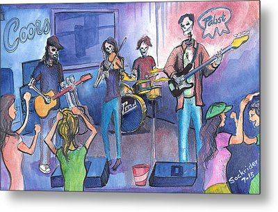 Metal Print featuring the painting Dewey Paul Band by David Sockrider