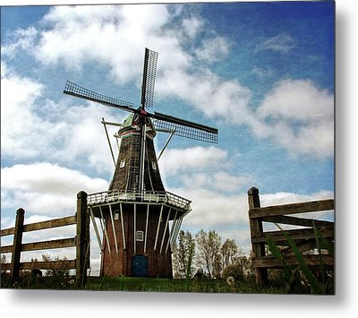 Metal Print featuring the photograph Dezwaan Windmill With Fence And Clouds by Michelle Calkins