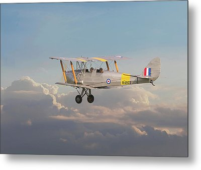 Metal Print featuring the digital art Dh Tiger Moth - 'first Steps' by Pat Speirs