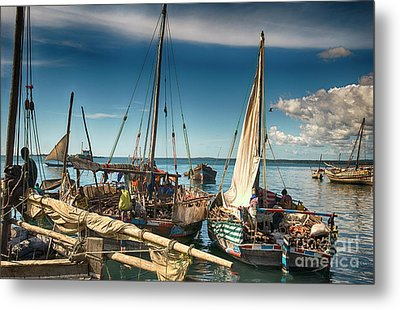Dhow Sailing Boat Metal Print by Amyn Nasser