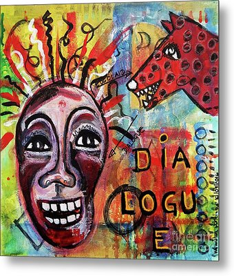 Metal Print featuring the mixed media Dialogue Between Red Dawg And Wildwoman-self by Mimulux patricia no No