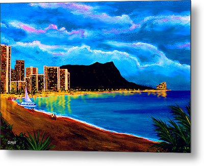 Diamond Head And Waikiki Beach By Night #92 Metal Print by Donald k Hall
