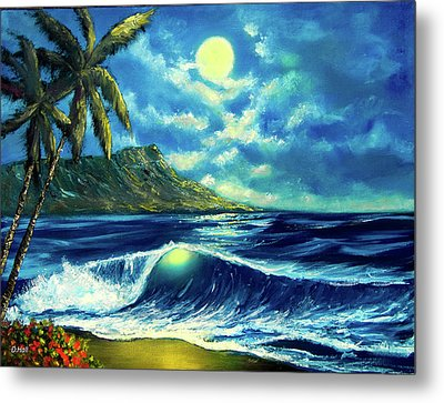 Diamond Head Moon Waikiki Beach #407 Metal Print by Donald k Hall