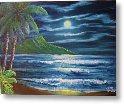Diamond Head Moon Waikiki Beach  #409 Metal Print by Donald k Hall
