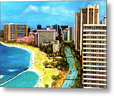Diamond Head Waikiki Beach Kalakaua Avenue #94 Metal Print by Donald k Hall