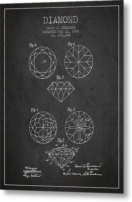 Diamond Patent From 1902 - Charcoal Metal Print by Aged Pixel