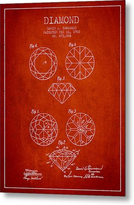 Diamond Patent From 1902 - Red Metal Print