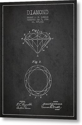 Diamond Patent From 1906 - Charcoal Metal Print