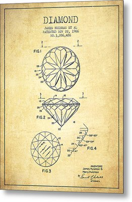 Diamond Patent From 1966- Vintage Metal Print by Aged Pixel
