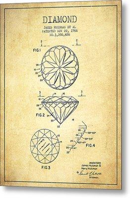 Diamond Patent From 1966- Vintage Metal Print