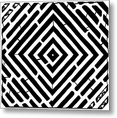 Diamond Shaped Optical Illusion Maze Metal Print by Yonatan Frimer Maze Artist