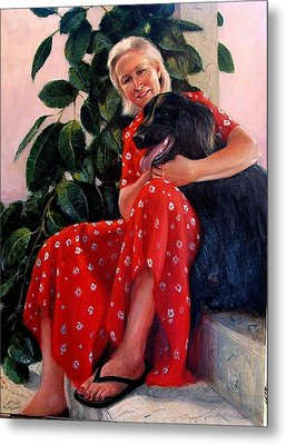 Metal Print featuring the painting Diane And Cinder by Donelli  DiMaria