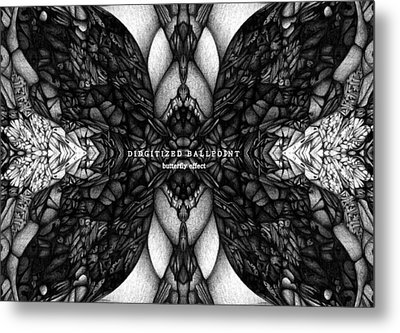 Metal Print featuring the drawing Didgitized Ballpoint Butterfly Effect by Jack Dillhunt