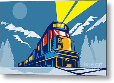 Diesel Train Winter Metal Print