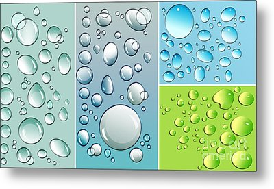 Different Size Droplets On Colored Surface Metal Print by Sandra Cunningham