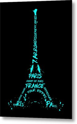 Digital-art Eiffel Tower Cyan Metal Print by Melanie Viola