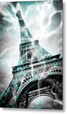 Digital-art Eiffel Tower Paris Metal Print by Melanie Viola