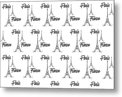 Digital Art Eiffel Tower Pattern Metal Print