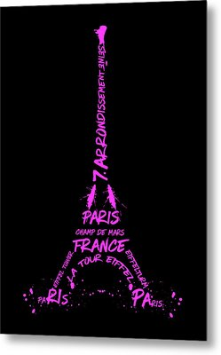 Digital-art Eiffel Tower Pink Metal Print
