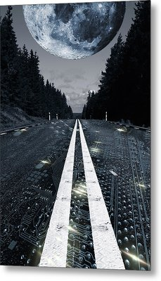 Digital Highway And A Full Moon Metal Print by Christian Lagereek